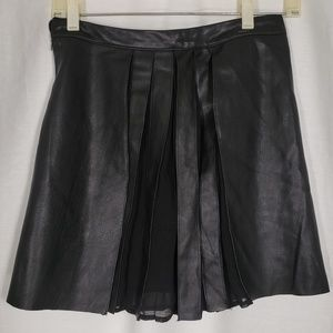 Zara Basic Faux Leather and Mesh Skirt